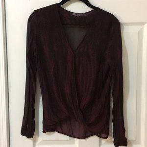 Sheer burgundy/black shirt infinity wrap shirt.